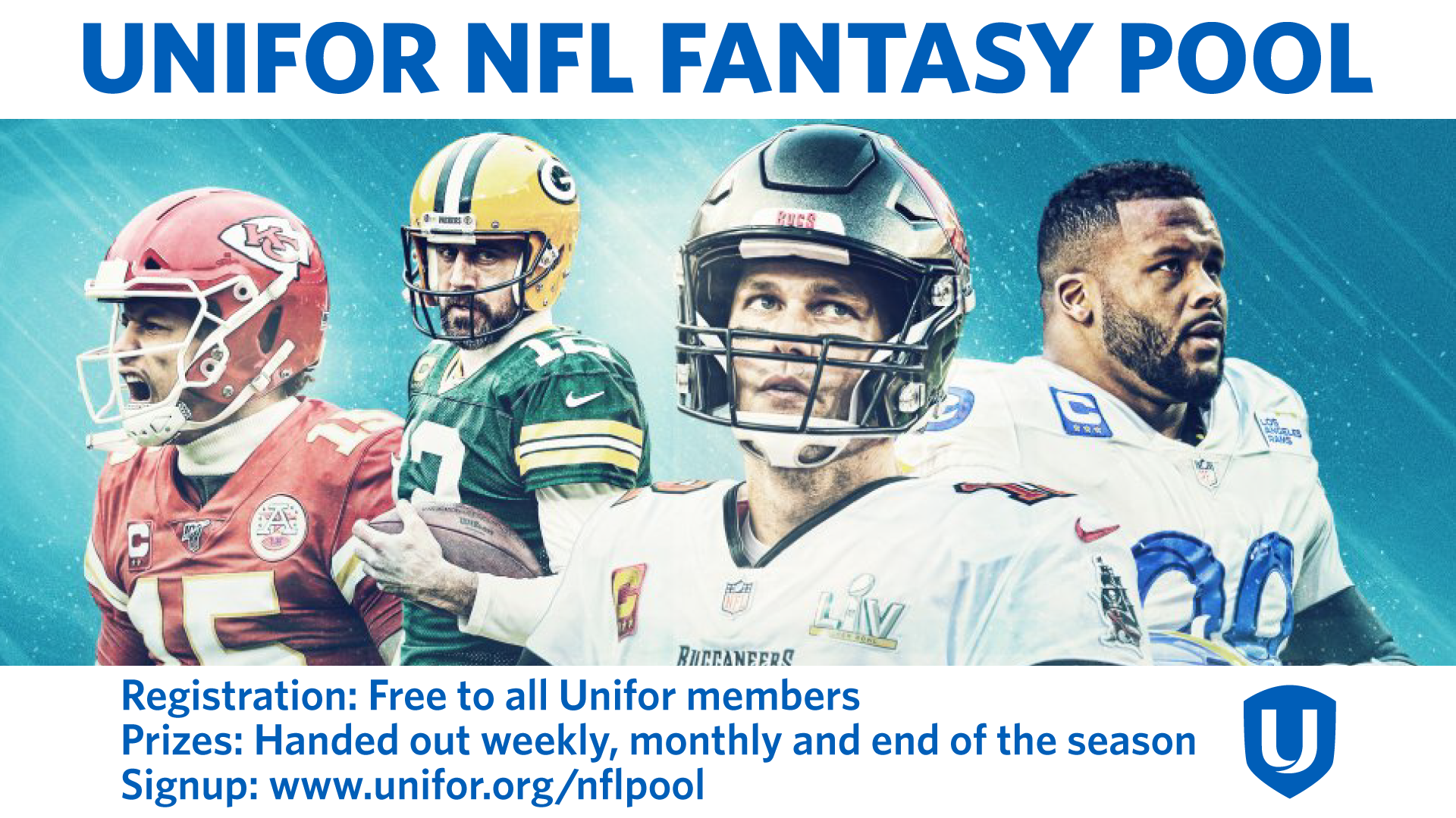 Four Football Players with text that says Unifor NFL Fantasy Pool